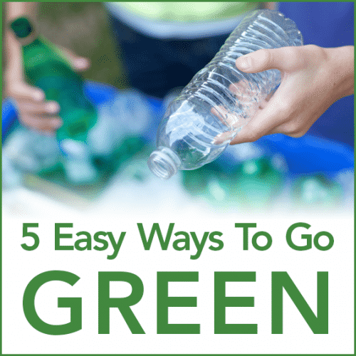 "A woman recycling plastic bottles into a blue bin with the words ""5 Easy Ways To Go Green"""