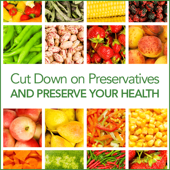 """A collage of fresh fruits and vegetables with the words """"Cut Down on Preservatives and Preserve Your Health"""" in the middle."""