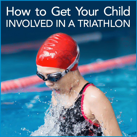Kid swimming in water with a red swim cap and goggles with the words How To Get Your Child Involved In A Triathlon