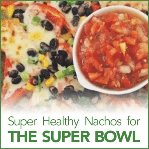 "Southwestern Red Pepper Nachoes on a plate with the words ""Super Healthy Super Bowl Snack"" below it."