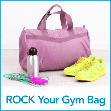 Purple gym back, yellow running shoes, silver water bottle and the words ROCK your gym bag