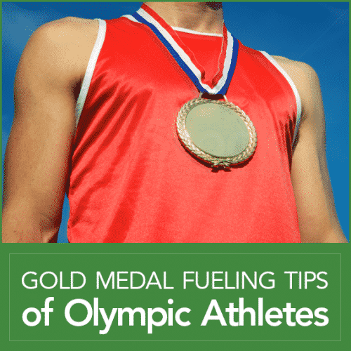 """An athletic man wearing a gold medal with the words """"Gold Medal Fueling Tips of Olympic Athletes"""""""