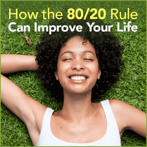 "A smilling lady laying in grass with the words ""How the 80/20 Rule Can Improve Your Life"""