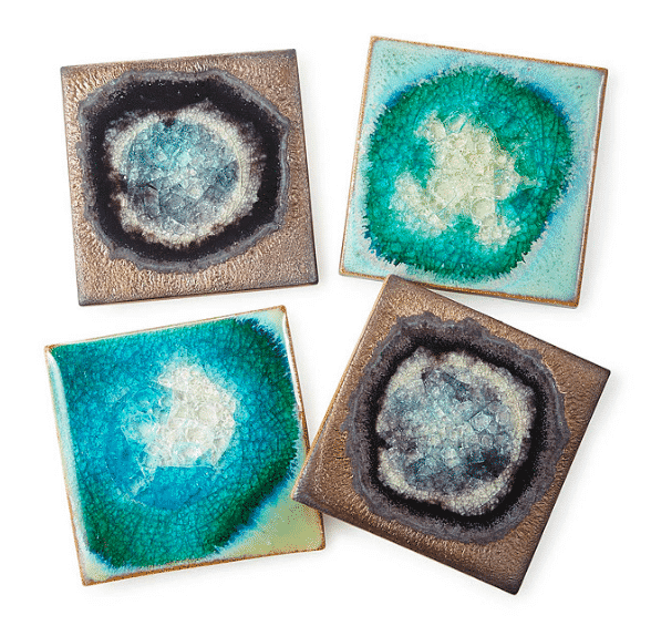 Stoneware and Crackled Glass Coaster Sets on the GHU Holiday gift guide!