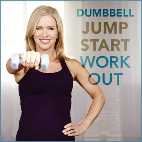 "Chris Freyatg holding a dumbbell with the words ""Dumbbell Jumpstart Workout"" next to her."
