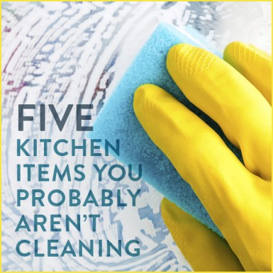 "A gloved hand and a soapy sponge cleaning with the words ""Five kitchen items you probbably aren't cleaning"""