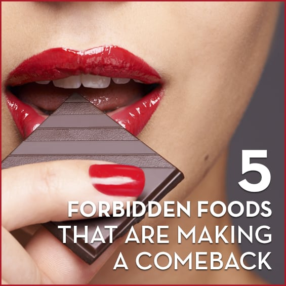 """A woman with red lips biting into a piece of dark chocolate with the words """"5 Forbidden Foods That Are Making A Comeback"""" next to her."""