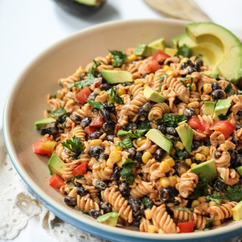 Add a little spice to your next party with this delicious gluten-free pasta salad full of fresh veggies and Tex-Mex flavors!