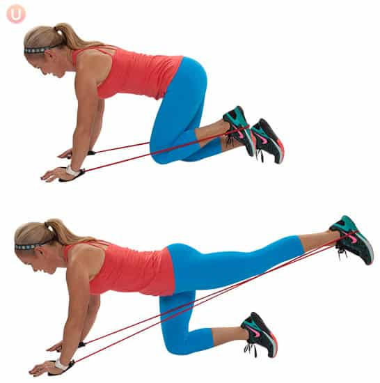 resistance band leg pull ups to reduce cellulite