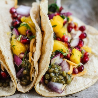 A vegan meal fit for king or queen these easy lentil tacos with mango pomegranate salsa are full of healthy flavors and nutrition!