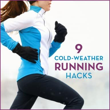 "Woman running outside in winter with text ""9 Cold-Weather Running Hacks"""