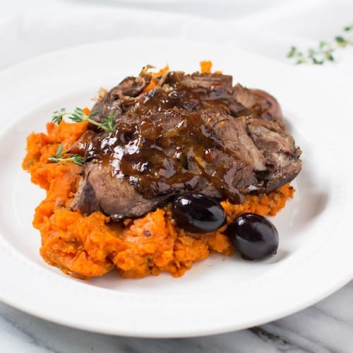 Upgrade! This slow braised beef with carrot mash and olives takes pot roast to a new level.