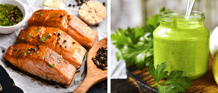 Side by side pictures of cooked salmon with spices and a glass jar of green yogurt sauce with cilantro and lemon