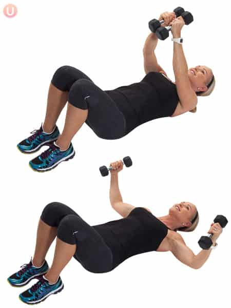 Try a chest fly to build upper body strength.