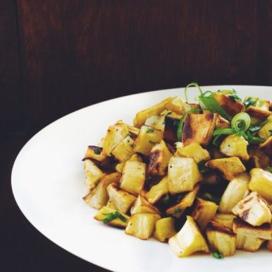 Try these parsnip and garlic chive home fries for a twist on a classic side dish!