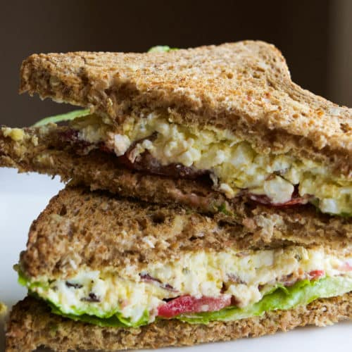 Try this fun twist on a classic egg salad! #blt #sandwich