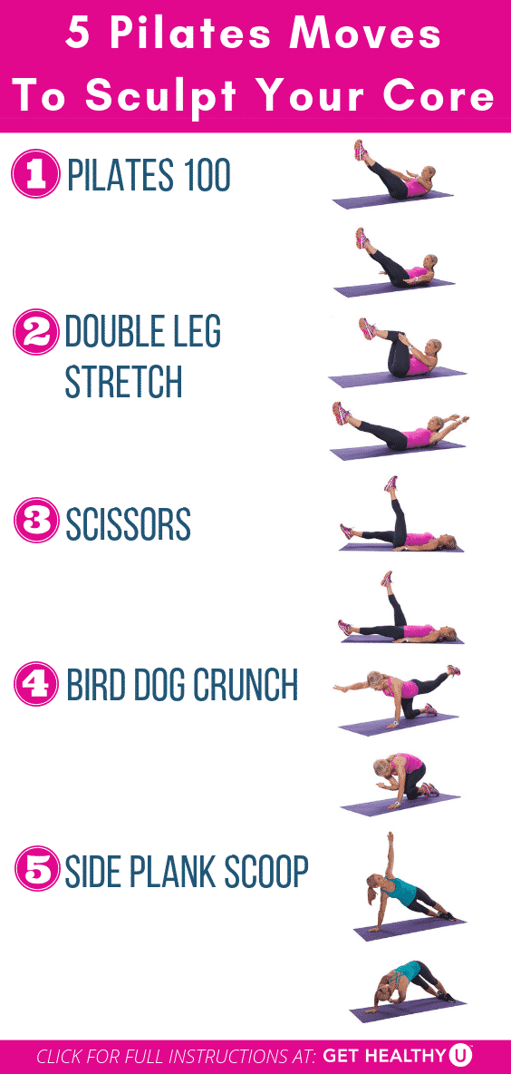 Graphic of fitness exercises to perform for the core pilates workout