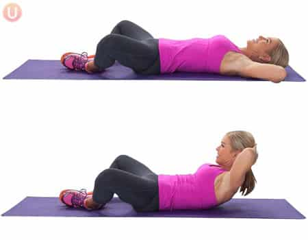 Do froggy crunches to target the rectus abdominus, one of several different core muscles.
