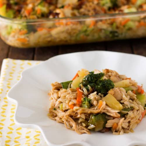 Low calorie teriyaki chicken and rice casserole