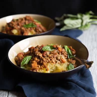 Try this super simple vegetarian slow cooker lentil sloppy joe recipe served over spaghetti squash for a delicious meatless meal.