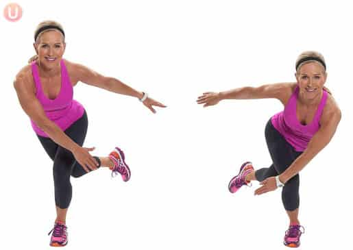 Skater exercise demonstration part of a muffin top workout