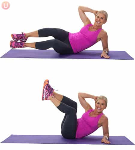 Try oblique crunches to work your abs.