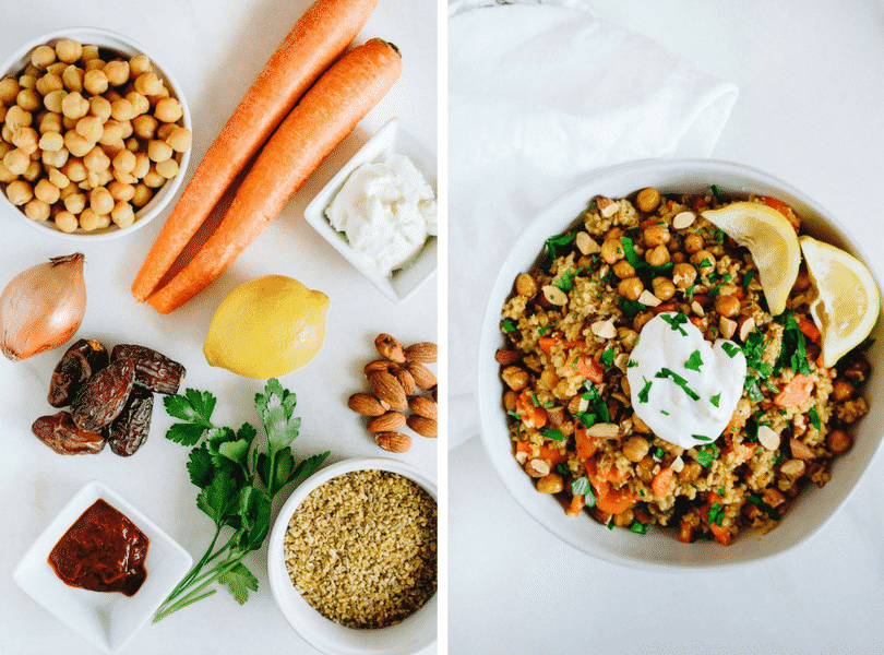 Blue Apron Roasted Chickpea and Freekeh salad recipe ingredients on the left and final shot in bowl on the right