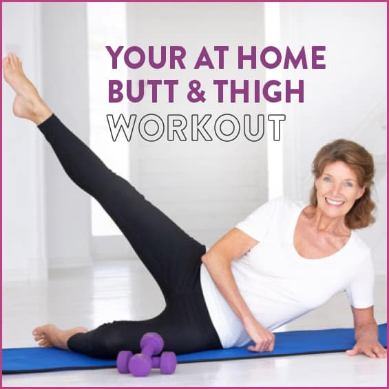 Middle aged woman at home working out leg muscles on yoga mat