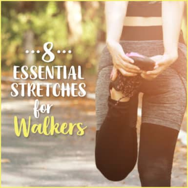 Woman holding foot stretching outside with text: 8 Essential Stretches For Runners
