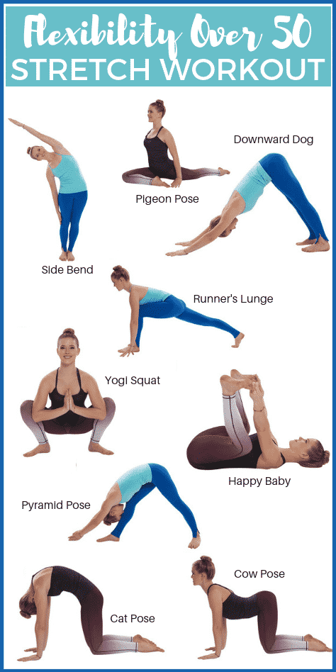 Graphic of fitness exercises to perform for the Flexibility over 50 workout