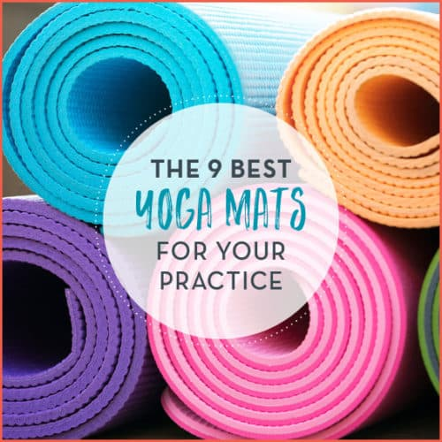 """Colorful yoga mats rolled up with text """"The 9 Best Yoga Mats For Your Practice"""""""