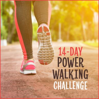 "Close up of woman's shoes and leggings walking outdoors with text: ""14-Day Power Walking Challenge"""